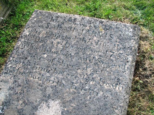 Sarah Jarvis grave stone
